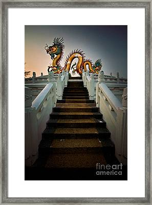 Stairway To The Dragon. Framed Print by Phaitoon Chooti