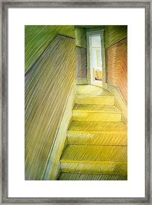 Stairwell In Malden Apartment 1978 Framed Print by Nancy Griswold
