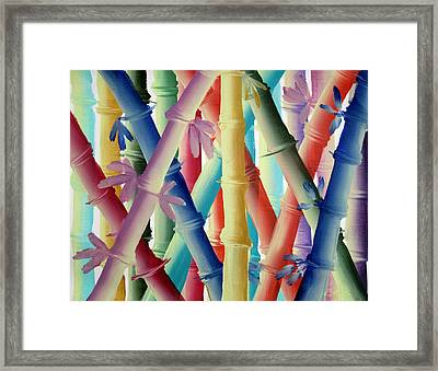 Framed Print featuring the painting Stalks Of Color by Kathy Sheeran