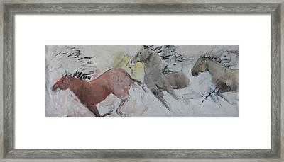 Stampede Mural Framed Print