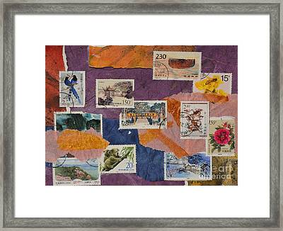 Stamps From China Framed Print by Barbara Tibbets