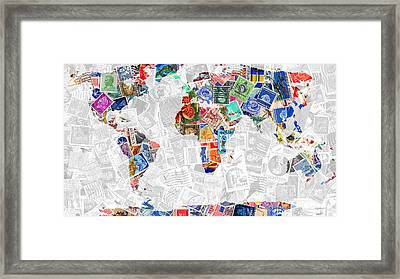 Stamps Of The World Map . V2 Framed Print by Wingsdomain Art and Photography