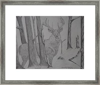Framed Print featuring the drawing Stand Off by Gerald Strine