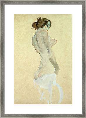 Standing Female Nude Framed Print by Egon Schiele