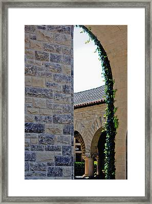 Stanford Memorial Court Arch Framed Print by Linda Dunn