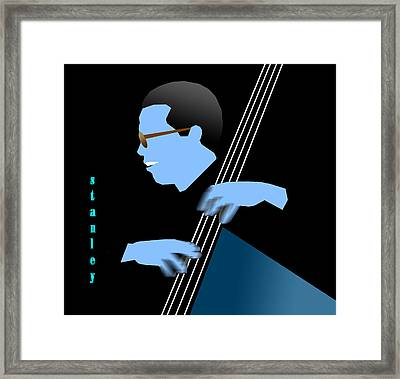 Stanley Clarke Blue Framed Print by Victor Bailey