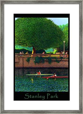 Stanley Park Scullers Poster Framed Print by Neil Woodward