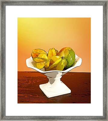 Star Fruit And Mango Framed Print by Michelle Wiarda
