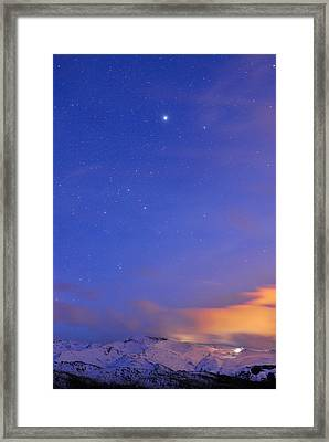 Star Sirius Over National Park Sierra Nevada At Sunset. Constelation Canis Mayor Framed Print by Guido Montanes Castillo