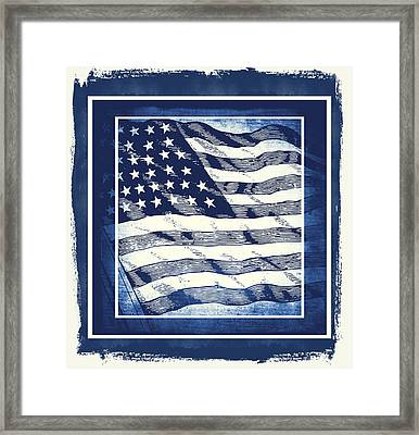 Star Spangled Banner Blue Framed Print by Angelina Vick