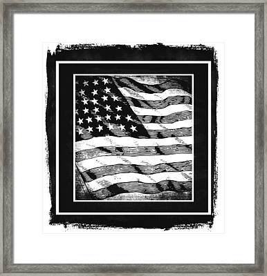 Star Spangled Banner Bw Framed Print by Angelina Vick