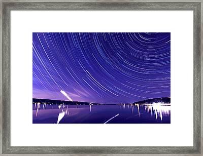 Star Trail On Cayuga Lake Ithaca New York Framed Print
