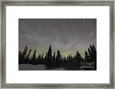 Star Trails, Milky Way And Green Aurora Framed Print by Yuichi Takasaka
