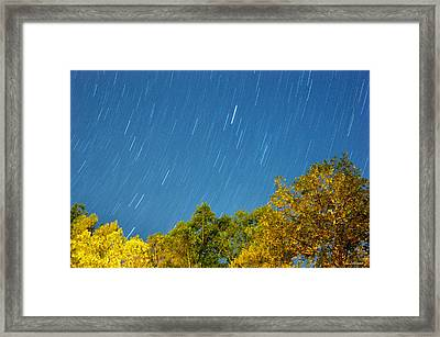 Star Trails On A Blue Sky Framed Print