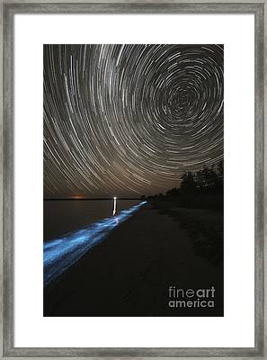 Star Trails Over Bioluminescence Framed Print by Philip Hart