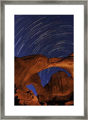 Star Trails Over Double Arch Framed Print by Craig Ratcliffe