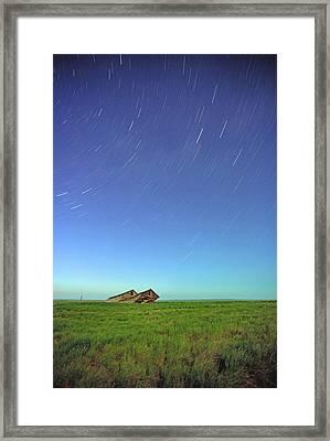 Star Trails Over Old Barns, Saskatchewan Framed Print by Robert Postma