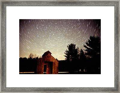 Star Trails Over Sugar Shack Framed Print by Rick Frost