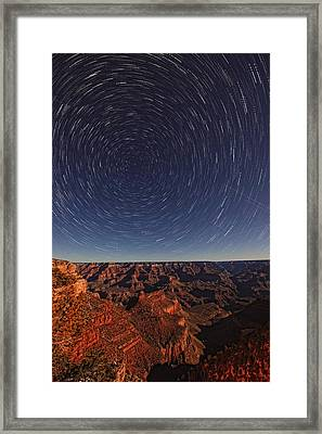 Star Trails Over The Grand Canyon Framed Print