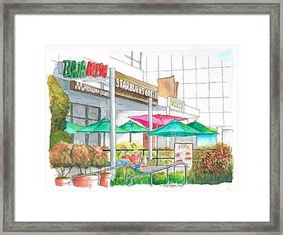 Starbucks Coffee In Miracle Mile, Wilshire Blvd., Los Angeles, California Framed Print by Carlos G Groppa