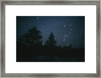 Starfield Including Orion, Sirius & Betelgeuse Framed Print