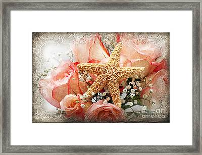 Starfish And Pink Roses Framed Print