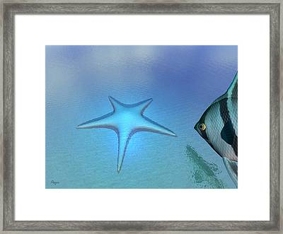 Framed Print featuring the digital art Starfish by John Pangia