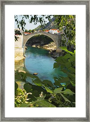 Stari Most Or Old Town Bridge Over The Framed Print by Trish Punch