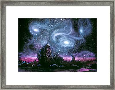 Starry Skies On Unknown Shores Framed Print