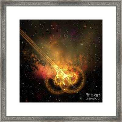 Stars And Gases Collide To Form This Framed Print by Corey Ford