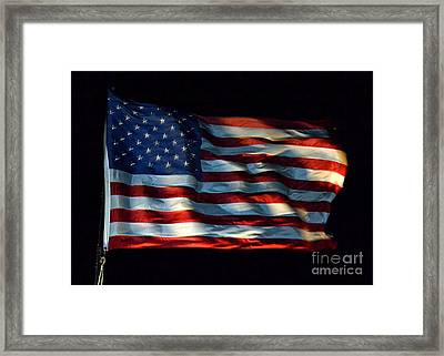 Stars And Stripes At Night Framed Print