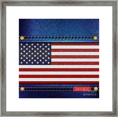 Stars And Stripes Denim Framed Print