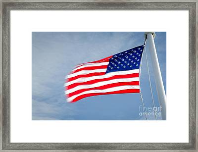Stars And Stripes Flagpole And Waving Usa Flag Framed Print by Andy Smy