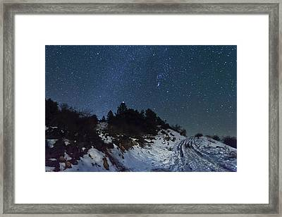 Stars In Sky At Night Framed Print by Mabel