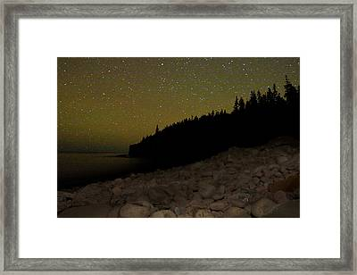 Framed Print featuring the photograph Stars Over Otter Cliffs by Brent L Ander