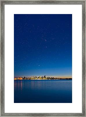 Stars Over Vancouver, Canada Framed Print by David Nunuk