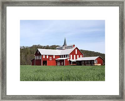 Stately Red Barn With Elongated Clerestory Cupola Framed Print by John Stephens