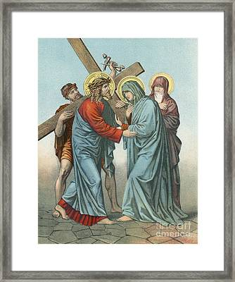Station Iv Jesus Carrying The Cross Meets His Most Afflicted Mother Framed Print