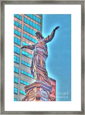 Statue At Fountain Square Framed Print