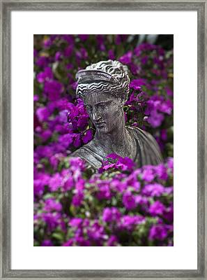 Statue In The Garden Framed Print by Garry Gay
