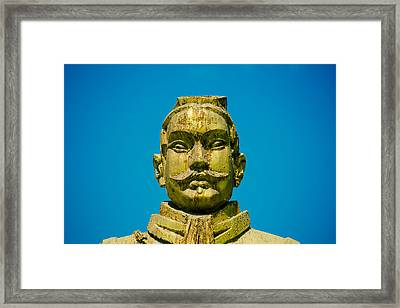 Statue Of Chinese Warrior Framed Print by Pan Hong