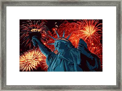 Statue Of Liberty Fireworks Color 16 Framed Print by Scott Kelley