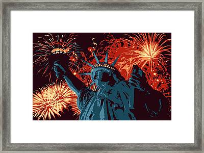 Statue Of Liberty Fireworks Color 6 Framed Print by Scott Kelley