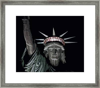 Statue Of Liberty Poster Framed Print by David Pringle
