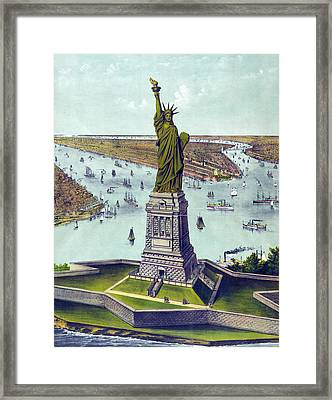 Statue Of Liberty. The Great Bartholdi Framed Print by Everett