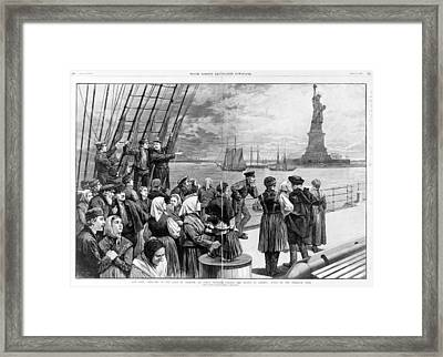 Statue Of Liberty. Welcome To The Land Framed Print by Everett