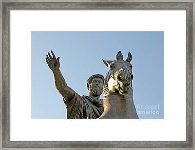 Statue Of Marcus Aurelius On Capitoline Hill Rome Lazio Italy Framed Print