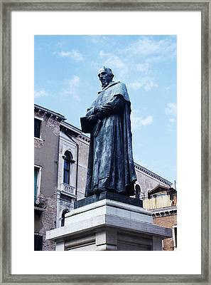 Statue Of Paolo Sarpi, Venetian Scientist Framed Print by Sheila Terry