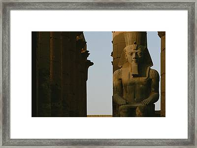Statue Of Ramses II In The Luxor Temple Framed Print by Kenneth Garrett