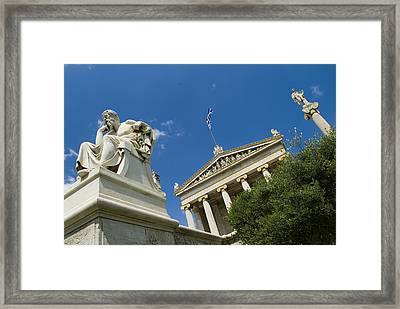 Statue Of Socrates In Front Framed Print by Richard Nowitz